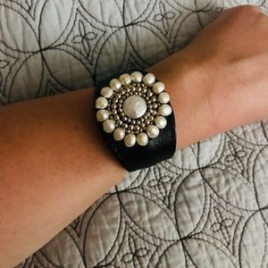Jewelry - Leather Cuff Bracelet with Pearls